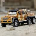 1:32 Modelo de Coche G63 AMG 6x6 Off-Road Vehículos Diecast metal de Cuatro puertas luz y sonido se retraen de Simulación de Coches de Juguete de Regalo Para Niños
