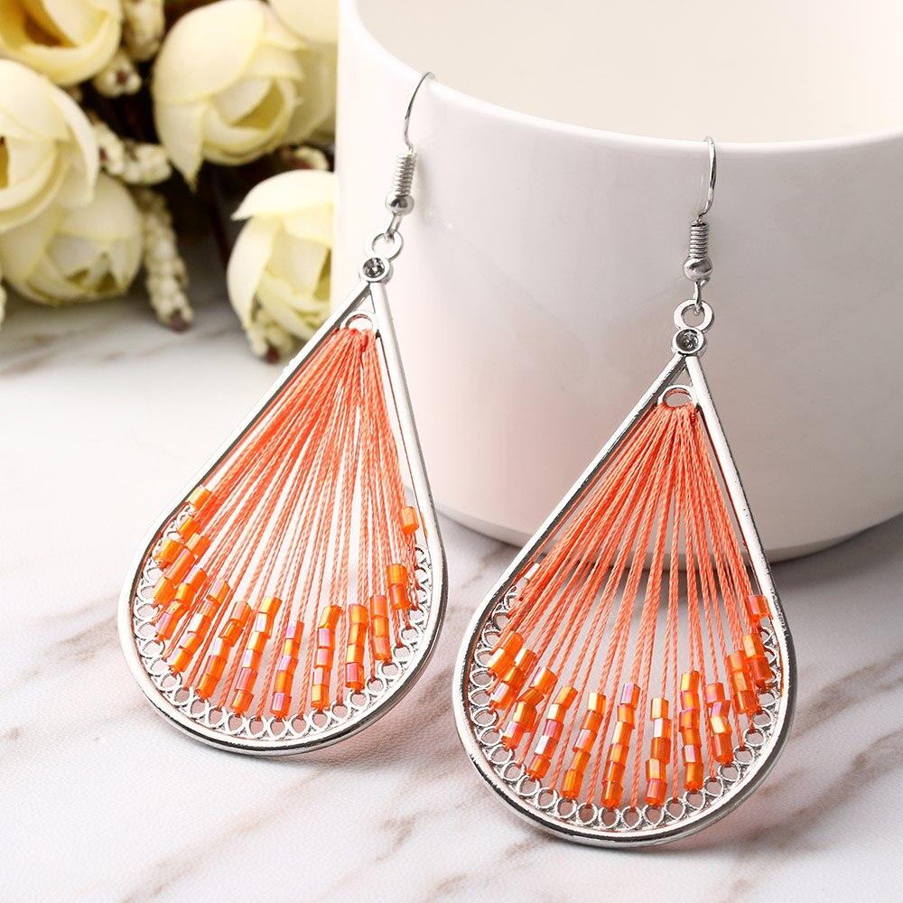 1 Pair Cloth Flower Drop Dangle Earrings Long Hook Earring Women Fashion Jewelry