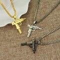 Хип-хоп длинное ожерелье Золотая Роза Позолоченный Пистолет Узи Пистолет 60 см Цепи Подвески и Ожерелья для Мужчин/Женщин Хип-Хоп Maxi Ожерелье Мужчины ювелирные изделия