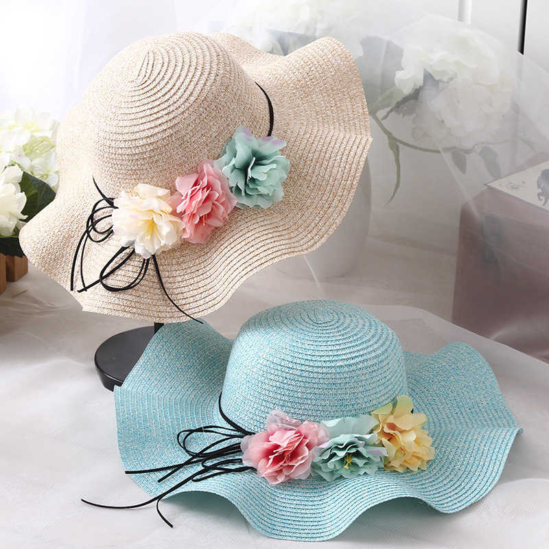 Lovely Girls Summer Baby Flower Breathable Hat Straw Sun Hat Kids Hat Boy Hats