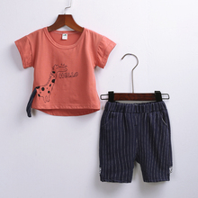 Newest Summer Boy Clothes Set Children T-Shirt Plaid Pant Suit Kids Outfit 100% Cotton Tops Panties 1 -3Year Clothing цена в Москве и Питере