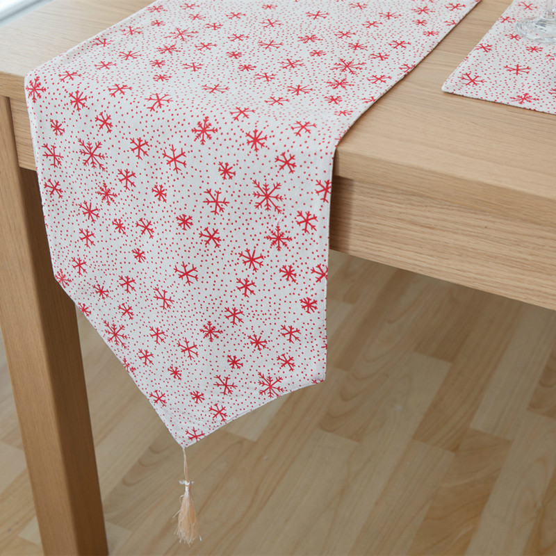 Free Shipping Snowflake Table Runner Linen Cotton Corredor De Mesa Tafelloper Kahve Caminos Tafel Loper kaffe Chemin Home Decor 3