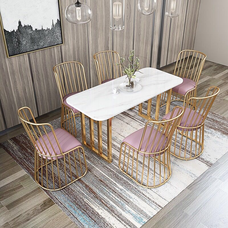 Free Shipping U-BEST Wedding Chair Hotel New Rose Gold Solid Iron Dining Chair,High Quality Cheap Price Gold Wire Side Chair