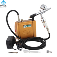 OPHIR 0.3mm Dual Action Airbrush Kit with Air Compressor for Body Paint Cake Decorating Makeup Hobby Paint_AC003H+004A+011
