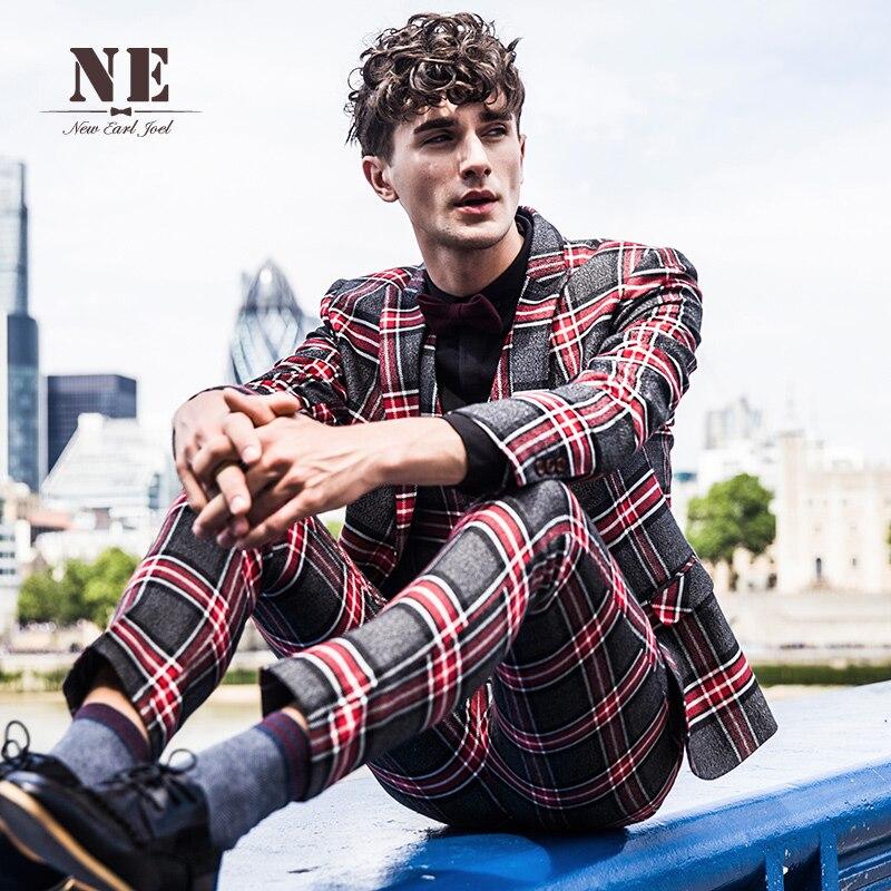 Brand Men's Clothing 2016 New Plaid England mens suit jackets mens formal wedding suit coat stage suit men single button suit - 4