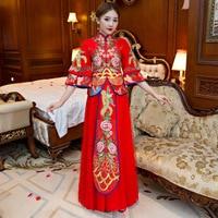 Dragon And Phoenix Gown Bride 2018 New Chinese Wedding Dresses Red Wedding Dress Cheongsam Toast