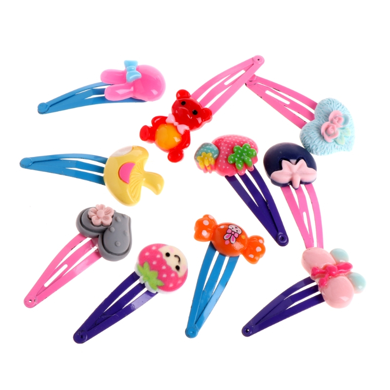 10 Pcs Girls Hair Clip Lovely Hairpin Hair Accessories Resin Cartoon Headdress Children Lovely Plastic+Metal Candy Color halloween party zombie skull skeleton hand bone claw hairpin punk hair clip for women girl hair accessories headwear 1 pcs