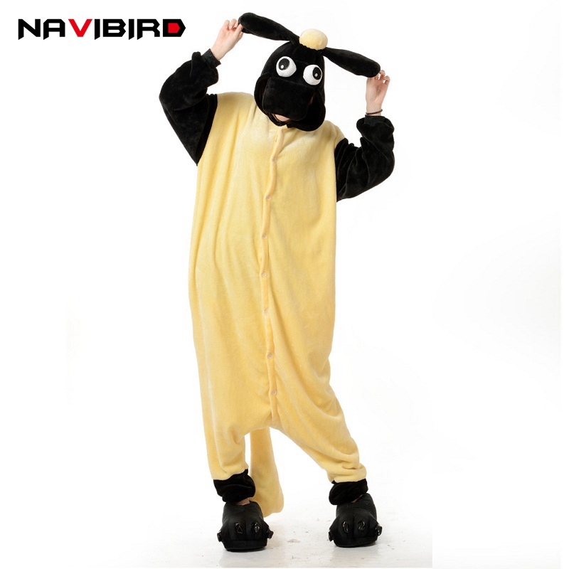 2018 Autumn Animal Onesie Women Funny Shaun Sheep Kugurumi Adult Pajama Jumpsuit Cute Men Women Cartoon Onepiece Sleepwear ...