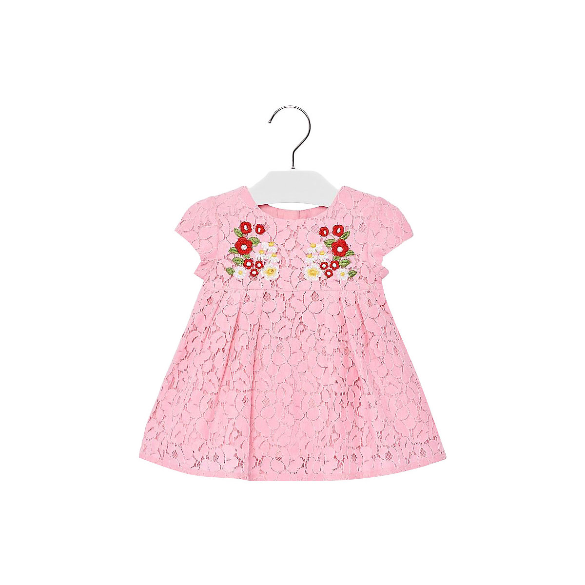 MAYORAL Dresses 10691731 Girl Children fitted pleated skirt Pink Cotton Casual Print Knee-Length Short Sleeve