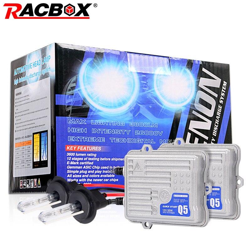 RACBOX 55W Quick Start HID Xenon Conversion Headlight Kit 12V H1 H3 H4 H7 H8 H9 H11 9005 HB3 9006 HB4 4300K 6000K 8000K 12000K