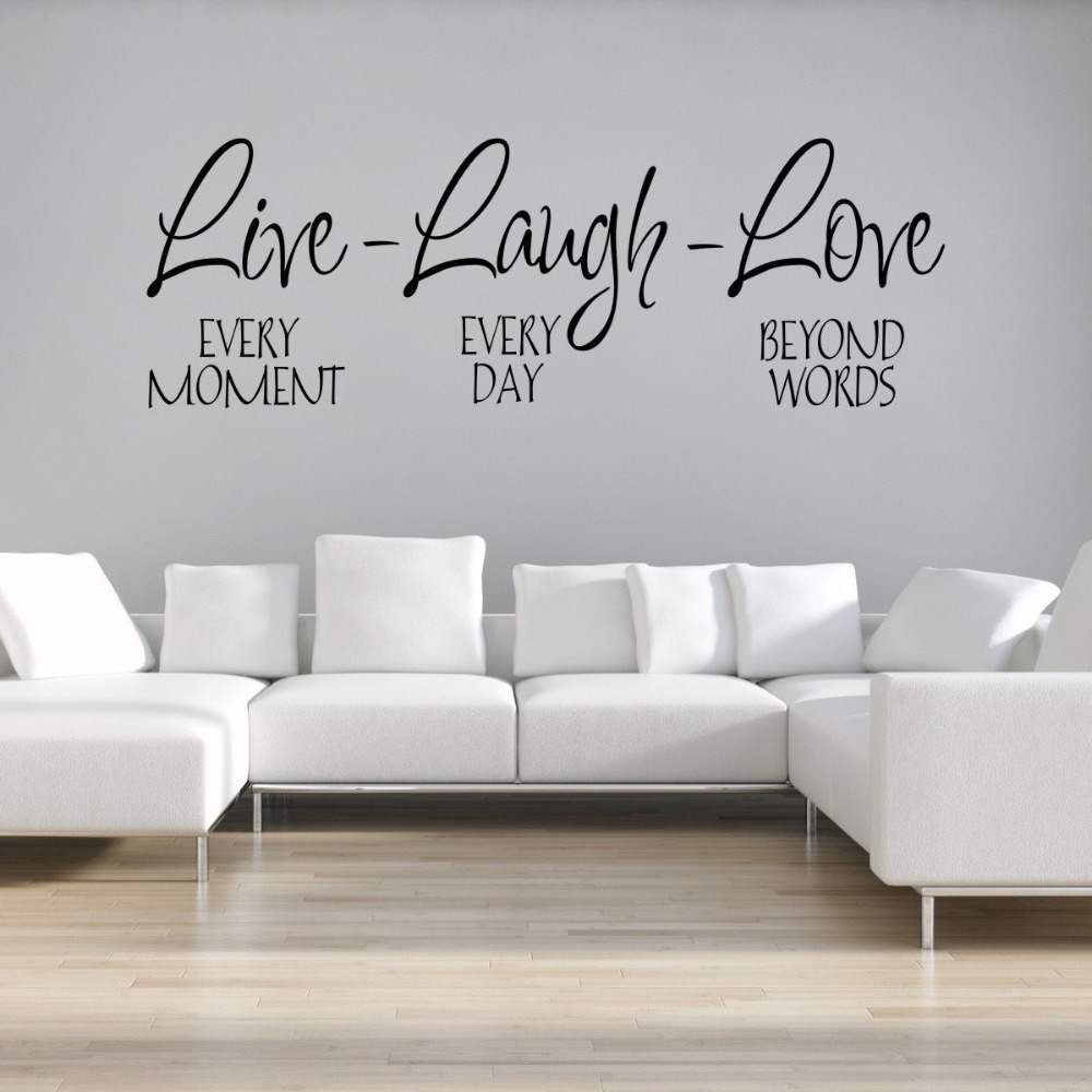 lovely living room wall decals | Large size Live Laugh Love Qtotes Wall Decals Removable ...