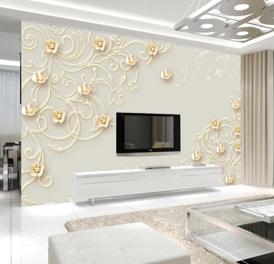 3D Floral Wallpapers Photo Wall Mural for Living Room ...