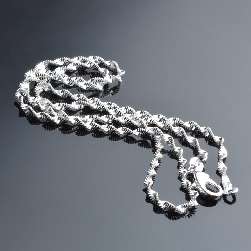 Utimtree 2MM High Quality 925 Sterling Silver Water wave Chain Necklaces Jewelry for Pendants Necklace Accessory Women Girl Gift in Chain Necklaces from Jewelry Accessories