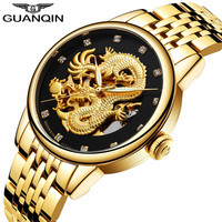 GUANQIN Clock Men Golden Dragon Luminous Man Watch Stainless Steel Skeleton Waterproof Luxury Automatic Wristwatches