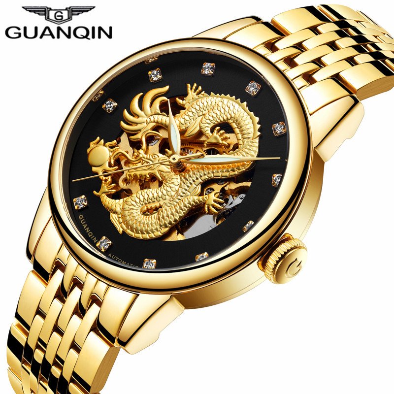 GUANQIN Clock Men Golden Dragon Luminous Man Watch Stainless Steel Skeleton Waterproof Luxury Automatic Wristwatches цена 2017