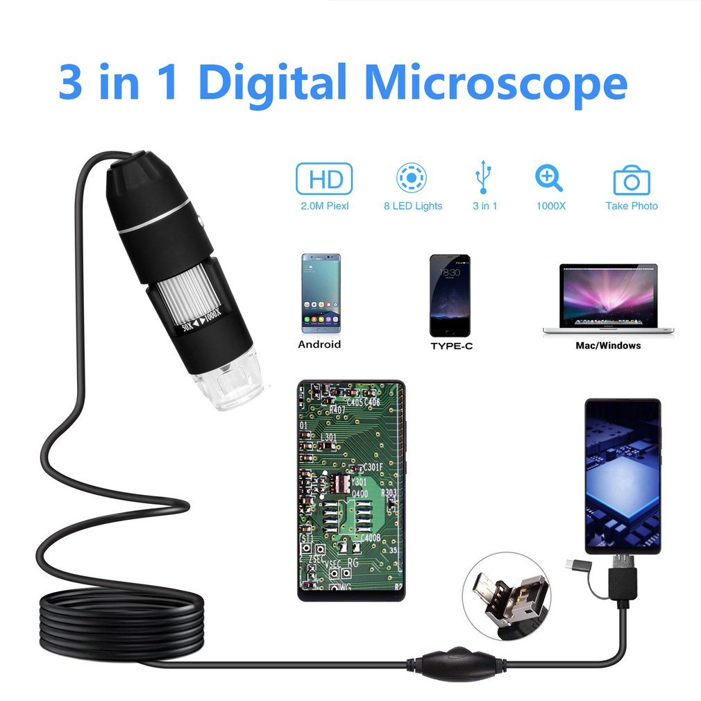 Multifunctional Handheld Portable 3 In 1 Digital Microscope 30M/200M Images 1000 Times USB Electronic Without Bracket