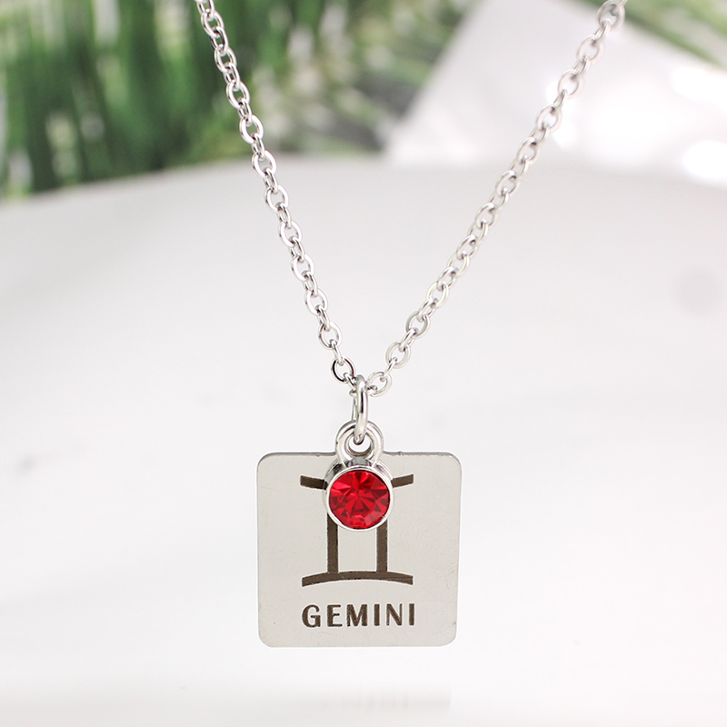 12 знаков зодиака Созвездия кулон ожерелье хрусталь камень ожерелье женщины друг подарок на день рождения ювелирные изделия из нержавеющей стали - Окраска металла: 4