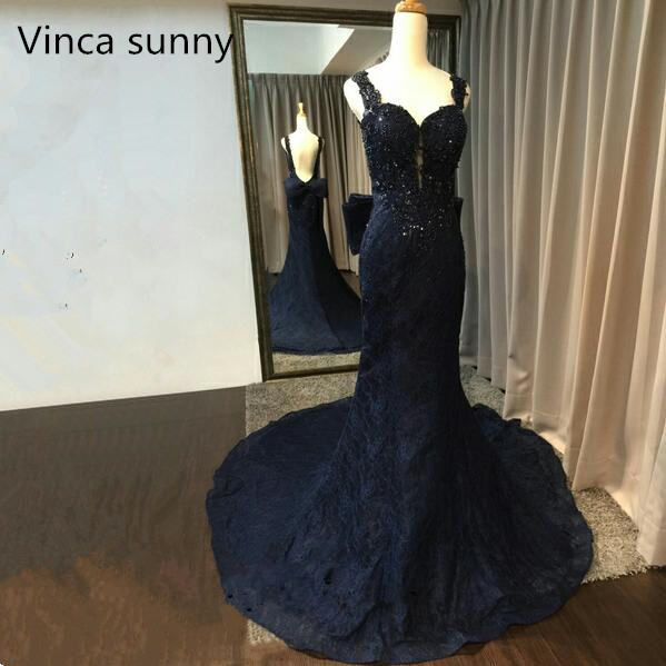 Robe De Soiree 2019 Spaghetti straps Mermaid   Evening     Dress   Navy blue Lace Long Formal Party Gown Abendkleider