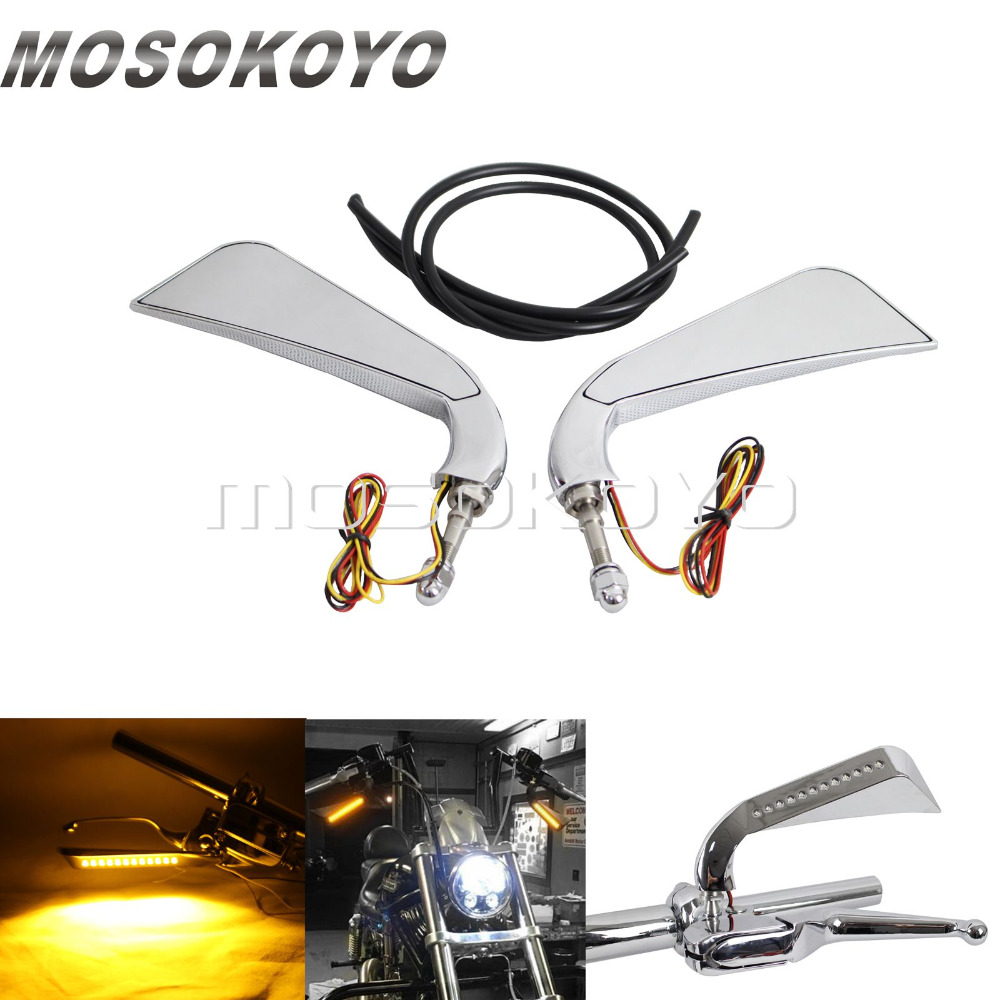 Chrome Axe LED Light Motorcycle Rear View Mirrors Side Rearview Mirror for Harley Custom Chopper Cafe