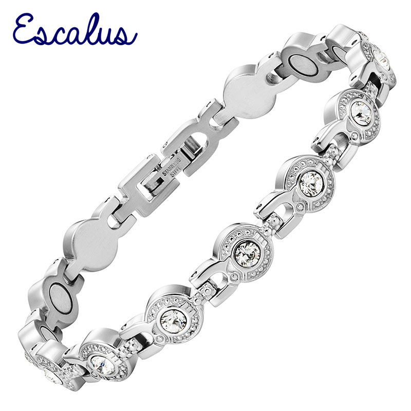 Escalus New Silver Color Magnetic Stainless Steel Bracelet For Women Pure Clear Branded Crystal Bracelets Bangle Wristband Charm jiayiqi new mens bracelets stainless steel black silicone bracelets charm bracelet male bangle for men jewelry 2017 silver color