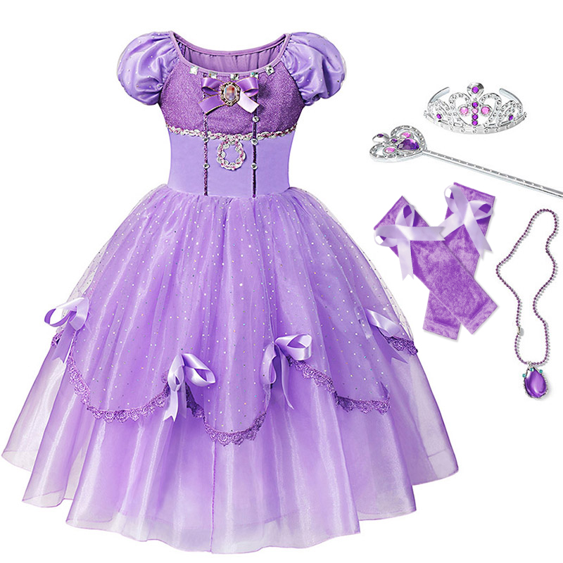 YOFEEL Princess Sofia Dress for Girl Kids Cosplay Costume Puff Sleeve Layerd Dresses Child Party Birthday Sophia Fancy Costumes