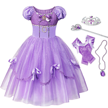 YOFEEL Princess Sofia Dress for Girl Kids Cosplay Costume Puff Sleeve Layerd Dresses Child Party Birthday Sophia Fancy Costumes special girls blue butterfly costume blue fairy costume child fancy dress costumes for kids birthday party fancy dress costume