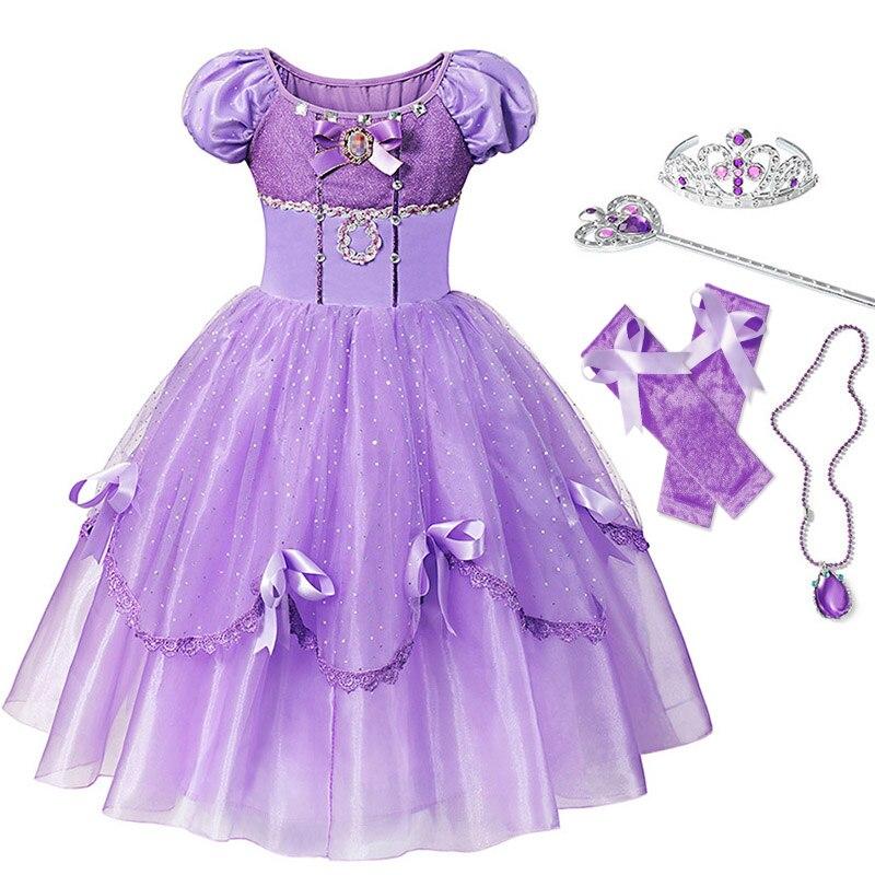 Princess Sofia Crystal Purple Bubble Sleeves Girl Dress /& Tiara Costume 12M-6Y