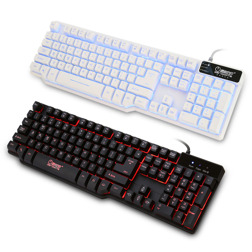 Universal Game Gaming Keyboard 2 Colors Glow Rainbow Backlit Wired USB Keyboard for Mac PC Laptop Computer Free Shipping  alangduo simple pro usb wired keyboard for desktop laptop computer tablet home office video gaming game