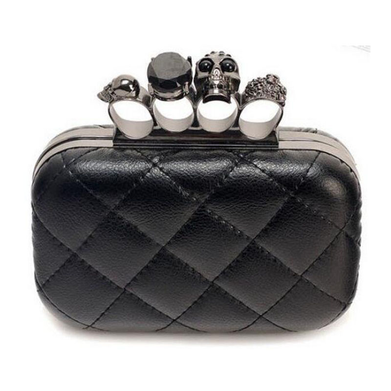 Black Skull Knuckle Rings Handbag Clutches