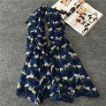 New Fashion Autumn and Winter Cotton and Linen Blend Soft Long Scarf Animal Reindeer Printed Scarves Navy Blue Cachecol Bandana