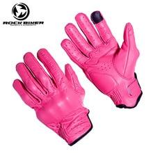 Vintage Guantes de cuero Real dedo completa Guantes de Moto ciclismo Moto hombres mujeres protector para motocicleta engranajes Motocross guante