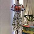 Взлетно-посадочной полосы Дизайнер Весна Лето Стиль Моды Dress женская Короткие Рукава Кристалл Цветок Цветочные Печати Шить Повседневные Платья