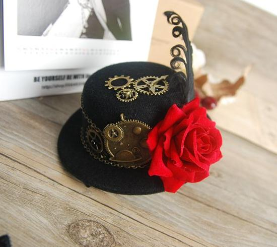 Punk Black Gothic Mini Top Hat Fascinator On Hairclip Womens Fancy Dress  Steampunk Gears Feather Rose ff31b740927