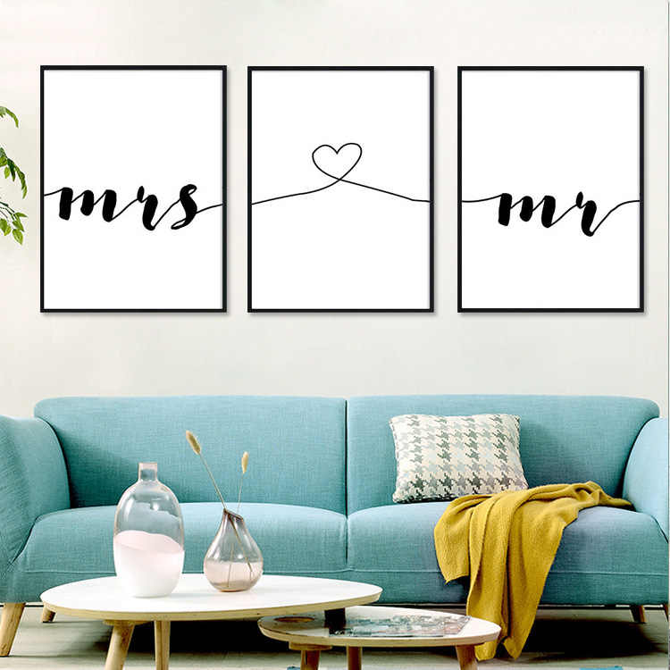 Black And White Love Phrase Mr & Mrs Quotes Canvas Poster Minimalist Print Living Room Bedroom Wall Art Pictures Home Decoration