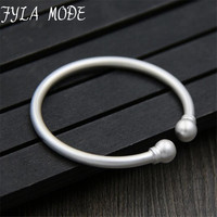 Fyla Mode Double Ball Charms Simple Matte Bangle 100% S999 Sterling Silver Bracelet Bangle For Men or Women Fine Jewelry 4MM