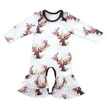 Boutique Infant Toddler Vêtements Bébé Glaçage À Volants Jambe Barboteuses Jumeaux floral À Volants Barboteuse à manches longues floral sœurs robes