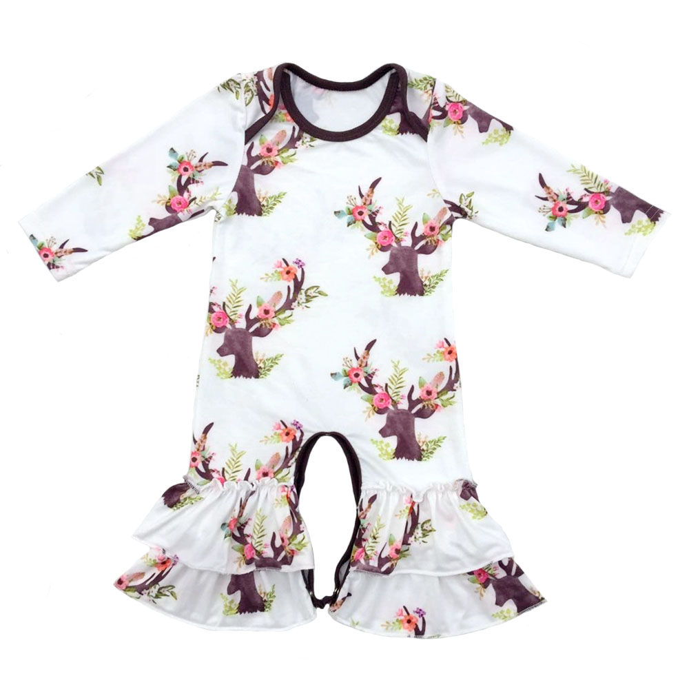 Boutique Infant Toddler Clothing Baby Icing Ruffled Leg   Rompers   Twins floral Ruffled   Romper   long sleeve floral sisters gowns