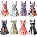 22 Colores Nuevas Mujeres Del Tanque Del Vestido de Playa de La Gasa Sin Mangas Camisetas Florales Vestidoes M L XL XXL