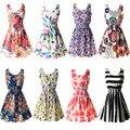 22 Cores Novas Mulheres de Verão Chiffon Tanque Praia Vestido Sem Mangas Camisetas Floral Vestidoes M L XL XXL