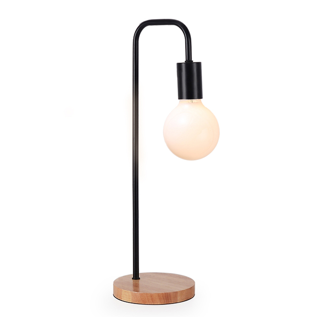 Modern Table Lamp Simple Desk Lamp E27 Iron Wood Table Lights For