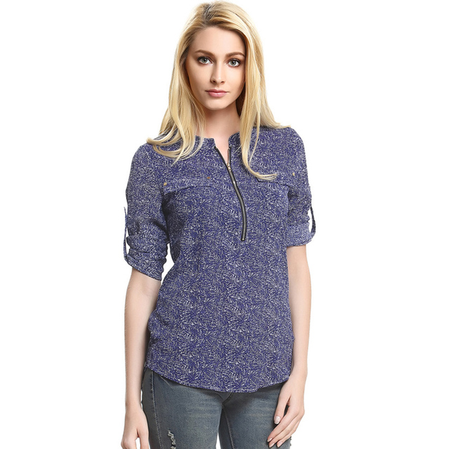Western Fashion design S-XL zip neck women chiffon blouses vogue lady  vintage shirts girls fa464e397722