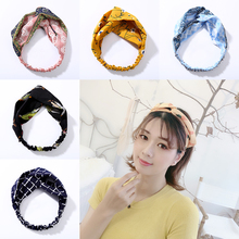 Fashion Cross Knot Hairband Plaid Turban Elastic Headband Girl Head Wrap Hair Accessories for Women Striped Headwear Accessories цена