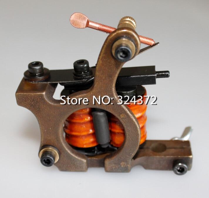 ФОТО Professional brass wire 10 wraps shader manual handmade Cast brass frame Tattoo Machine Gun