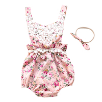 New Sweet Infant Girl's Bodysuit Floral Cute Lace One Piece Baby Bodysuit With Headband For Infant