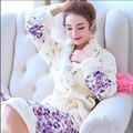Sleepwear lua amantes robe masculino roupões de banho coral fleece espessamento flanela salão longo-manga
