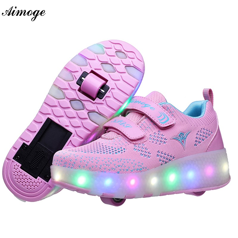 Roller Sneakers With Wheels Tenis Infantil Menino De Rodinha Para Niño Roller Sneakers LED Heelys Shoes USB Tennis Shoes Kids