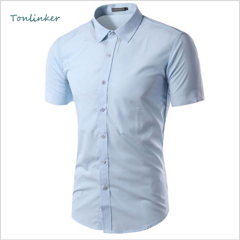 Tonlinker 2018 New Summer Mens Shirt Fashion Casual Slim Fit Short Sleeve Multicolor