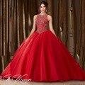 Очаровательная красный пышное платье 2016 великолепный принцесса бальное платье пром платье с бесплатным vestidos 15 anos Q68