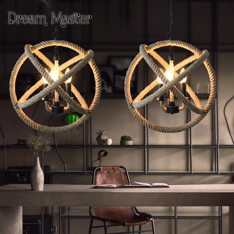 Nordic Antiken Kronleuchter Seil Bar Lampe Loft Retro Wohnzimmer Kreative Industriellen Wind Persnlichkeit Sphrische