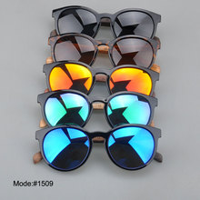 1509 fashionable spring hinged polarized Acetate optical frame wooden temple sunglasses sunshades sun glasses